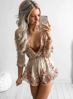 champagne v neck romper, sequins jumper, romper with belt - Lyfie