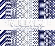Just Peachy Designs: Free Royal Blue and White Digital Paper Set