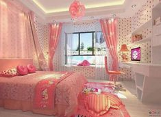 Hello Kitty Pink Bedroom girly pink bedroom home decorate hello kitty Hello Kitty Bedroom Set, Hello Kitty Rooms, Cat Bedroom, Kawaii Bedroom, Bedroom Themes, Bedroom Sets, Bedroom Decor, Decor Room, Pink Bedrooms