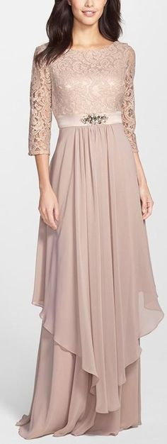 embellished lace & chiffon gown by Eliza J. An enchanting dusty-rose shade saturates this bateau-neck dress of corded lace and creamy chiffon. Trendy Dresses, Elegant Dresses, Beautiful Dresses, Beautiful Bride, Bridesmaid Dresses, Prom Dresses, Wedding Dresses, Bride Dresses, Long Dresses