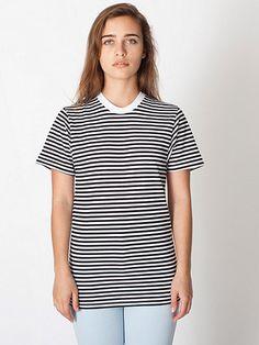 Unisex Poly-Cotton Stripe Crew Neck / American Apparel - $25