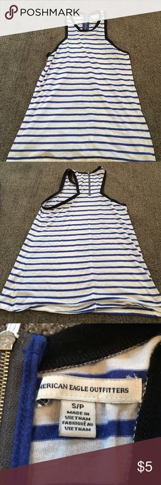 Blue and white striped American Eagle tank top Blue and white striped cotton American Eagle tank top. Worn only a few times. Runs a little bit long. American Eagle Outfitters Tops Tank Tops