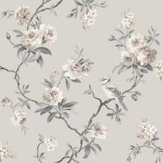 Chinoiserie Floral x Wallpaper Roll, a sophisticated floral pattern. Blooms barely tinted and birds are printed on a background. This wallpaper roll is a un-pasted, paper wallpaper. Chinoiserie Wallpaper, Bird Wallpaper, Grey Wallpaper, Paper Wallpaper, Wallpaper Samples, Wallpaper Roll, Luxury Wallpaper, Tree Branch Wallpaper, Metallic Wallpaper