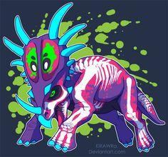 Radioactive Styracosaurus by KiRAWRa on DeviantArt Jurassic World Dinosaurs, Jurassic Park World, Fantasy Creatures, Mythical Creatures, Jurrassic Park, Falling Kingdoms, Spinosaurus, Dinosaur Art, Prehistoric Creatures