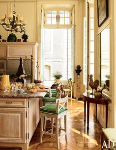 The kitchen of Château du Grand-Lucé, designer Timothy Corrigan's home in France