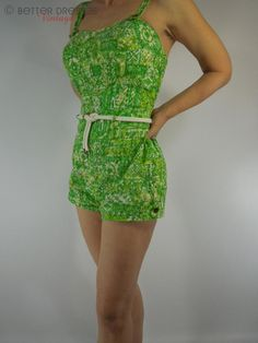 Vintage 50s 1950s Swimsuit Playsuit Pin Up Green Bathing Suit by Catalina by Better Dresses Vintage