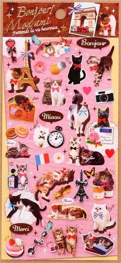 kawaii cat Eiffel Tower Paris stickers from Japan 2