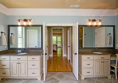 Master bath from the Fincannon Plan 1234 http://www.dongardner.com/plan_details.aspx?pid=3746 - The master suite is a luxurious retreat with a fireplace, porch access, his and hers walk-in closets and a huge bathroom. #Bathroom #MasterBedroom #DreamHome