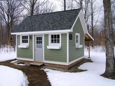 A backyard shed – the perfect spring project! Backyard Storage Sheds, Backyard Sheds, Outdoor Sheds, Backyard Retreat, Backyard Patio, Garden Sheds, Outdoor Storage, Shed Colours, Colors