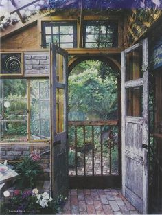 Lovely garden shed door leading out to the garden; Garden Shed Magazine 2002 Witch Cottage, Witch House, Outdoor Rooms, Outdoor Gardens, Outdoor Living, Dream Garden, Home And Garden, Gazebos, She Sheds