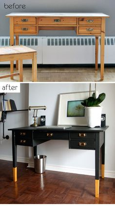 """DIY - Painted Desk with bottom 8"""" of the legs not painted. Love the look. Full Tutorial. Also a good """"no-sanding"""" painting tut found here: http://pinterest.com/pin/263601384409225217/"""