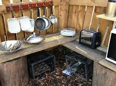 Easy Diy Garden Projects You'll Love Outdoor Play Kitchen, Diy Mud Kitchen, Outdoor Play Spaces, Kids Outdoor Play, Backyard Play, Outdoor Learning, Outdoor Fun, Kitchen Ideas, Play Yard