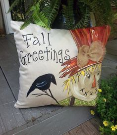 Scarecrow Pillow Cover, Fall Decorations, Burlap Scarecrow, Thanksgiving, Hand-p… – accent pillow living room Pumpkin Pillows, Fall Pillows, Cute Pillows, Throw Pillows, Fall Canvas, Fall Sewing, Halloween Pillows, Autumn Decorating, Fall Projects