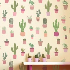 The Cactuses Allover wall stencil makes achieving Southwestern wallpaper decor super easy.  Stenciling a cactus pattern on an accent wall. Via Cutting Edge Stencils. http://www.cuttingedgestencils.com/prickly-pear-wall-stencils-cactus-wallpaper-stencil-design.html