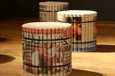 rolled newspaper stools #upcycle #newspaper