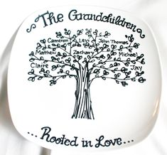 Mothers Day Family Tree Grandchildren Personalized Custom Name Grandparents Anniversary Grandmother Wedding Plate. $20.00, via Etsy.