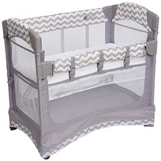 Arms Reach Concepts Mini ARC Co-Sleeper Curved Bassinet with Skirt – Chevron - Modern Co Sleeper Bassinet, Baby Co Sleeper, Baby Bassinet, Baby Cribs, Bassinet Cover, Baby Playpen, Baby Needs, Baby Love, Sleep Solutions