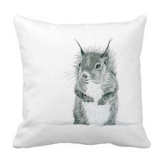 Cute Squirrel Throw Pillow - Fantastic drawing! <3