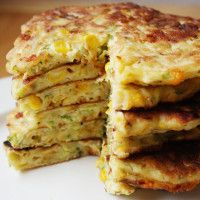 zucchini corn pancakes - 2 thumbs up, 1/2 recipe good for us - runny w/ frozen zucchini, use lower heat
