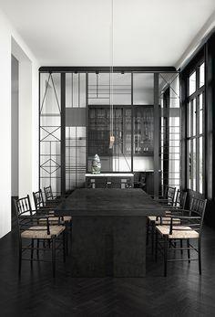 Minimal dining room | dark color dining room | minimal furniture |www.bocadolobo.com #diningroomdecorideas #moderndiningrooms