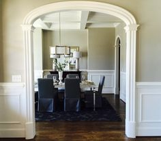 Arched Doorway Trim Kits by CurveMakers, Inc. Products for wood interior arch trim. Arch Entryway, Arched Doors, Wood Arch, Elegant Interiors, Black Interior Doors, Moldings And Trim, Townhouse Interior, Family Room Layout, Arch Interior