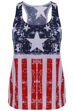 Scoop Neck American Flag Print Tank Top