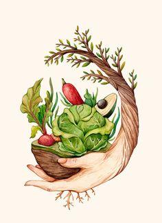 Food Illustrations, Illustration Art, Drawing Sketches, Art Drawings, Drawing Art, Food Art Painting, Bokashi, Farm Logo, Guache