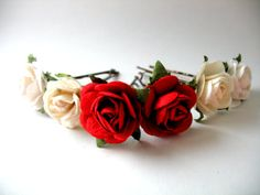 Rose Hair Bobby Pin Accessories Red, Cream and White Ballet Bun Decorations for Summer Flower Hair Wear Wedding Roses Updo or Bun Accessory