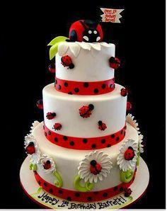 Ladybug Cake (by Pink Cake Box) Pretty Cakes, Cute Cakes, Beautiful Cakes, Amazing Cakes, Fondant Cakes, Cupcake Cakes, Owl Cupcakes, Fruit Cakes, Super Torte
