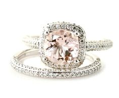 18K Morganite Wedding Set Diamond Halo Morganite Engagement Ring 18K White Yellow Rose Gold Bridal Jewelry. $2,980.00, via Etsy.