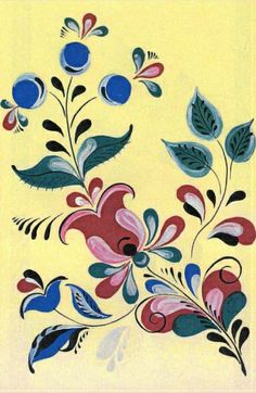 Folk Uftyug painting from Northern Russia. Pablo Picasso, Russian Folk Art, Russian Culture, Deco Floral, Tole Painting, Sketch Design, Abstract Pattern, Flower Patterns, Flower Art