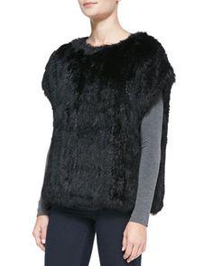 Cap-Sleeve Fur Sweatshirt, Black by 525 America at Neiman Marcus.