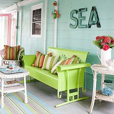 Lime green and turquoise porch - glider, too!