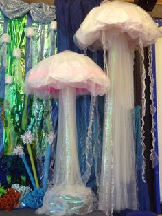 Giant jelly fish props for under the sea themed primary school summer concert.