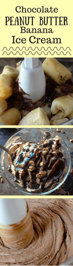 Chocolate Peanut Butter Banana Ice Cream just2sisters.com