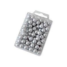 Dekoperlen 10 mm zum Fädeln - Box mit ca. 115 Stück - silber