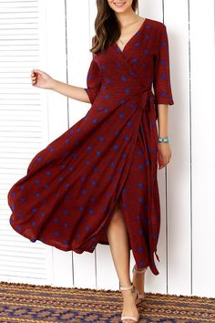 $28.42 Ladylike Star Print Wrap Dress For Women