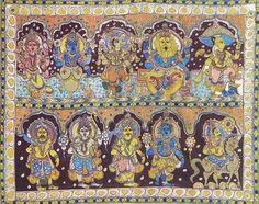 Dashavatara - Ten Incarnations of Lord Vishnu - Kalamkari Painting