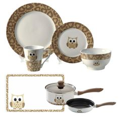 Owl Print Dinnerware Pinned by www.myowlbarn.com