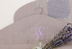 images of monogrammed coat hanger covers | Personalized Monogrammed Linen and Lavender Hanger Cover ...