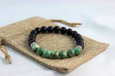 Jacob Jacob  $40.00 CAD  10 mm Black Agate Beads  10 mm Green Agate Beads  Bronze filigree beads