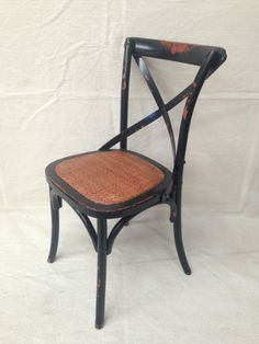 BELLA CROSS DINING CHAIR BLACK OAK RATTAN Matt Blatt Modern Country Contemporary