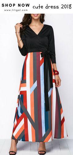 USD35.84 Tie Side Three Quarter Sleeve Geometric Print Dress  liligal   dresses 1c900cb004c