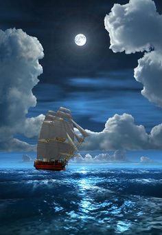 Sailing in the moonlight . Cool Pictures, Beautiful Pictures, Old Sailing Ships, Ship Paintings, Boat Art, Nautical Art, Beautiful Moon, Tug Boats, Ship Art