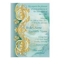 Elegant Scroll Wedding Invitation - Teal 4B