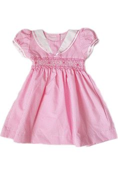 Sail away in this charming pink gingham dress with a contrasting sailor collar and hand-smocked bodice. Fun and elegant ethical kids clothing for little girls. Pink Gingham, Gingham Dress, Nautical Summer Dresses, Sailor Collar, Ethical Clothing, Baby Kids Clothes, Pink Satin, Spring Summer 2018, Smocking