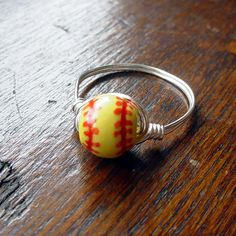 Girl's Softball Wire Wrapped Ring ceramic bead by Taylored4you, $10.00