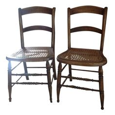 Image of Antique Walnut Cane Seat Dining Chairs - Pair