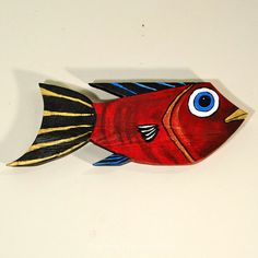 Painted Wood Fish Red And Gold Mississippi Folk Art by TaylorArts
