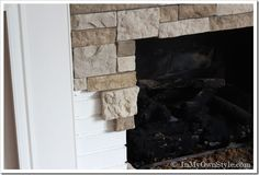 AirStone Fireplace Makeover on a DIY Budget - DIY Stone Fireplace makeover- would also work under the bar in the kitchen! Airstone Fireplace, Stone Fireplace Makeover, Fireplace Update, Home Fireplace, Fireplace Remodel, Fireplace Design, Fireplace Makeovers, Fireplace Ideas, Fireplace Stone